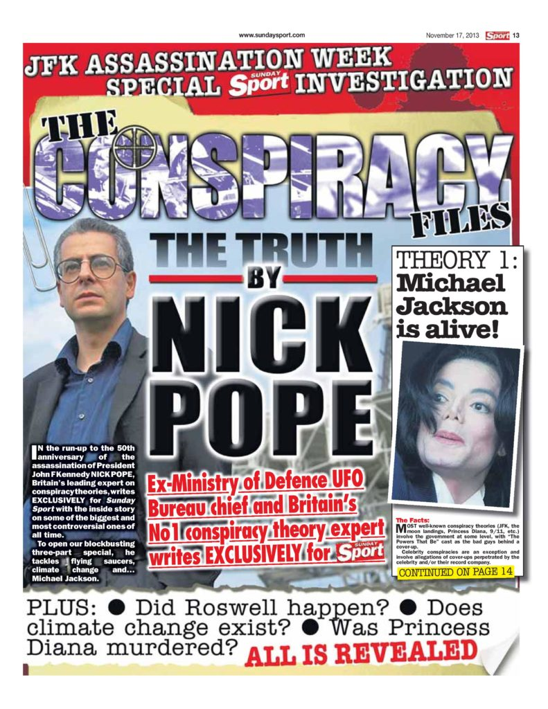 One of Nick Pope's newspaper features on conspiracy theories